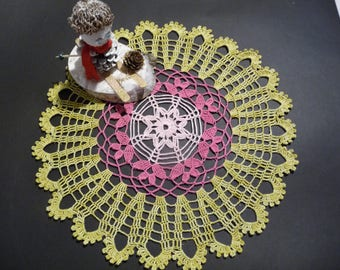 Handmade lace doily in pale rose pink cotton backed green yellow ombre