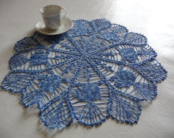 Doily hand crocheted cotton blue ombre 'Cup '.