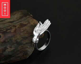 SALE - Real 925 Sterling Silver Natural Creative Handmade Designer Fine Jewelry Vintage Buddha's Hand Rings for Women Bijou