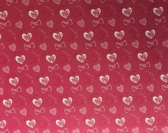 Feuille A4 Papier glacé à motif coloré - Cœurs et nœuds rose /rouge / fuchsia / blanc