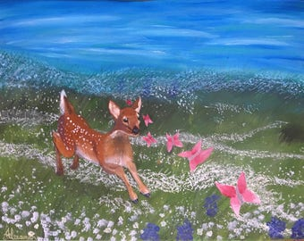 Deer/ Fawn painting in a valley full of flowers