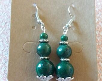 Dark Green Pearl trio earrings