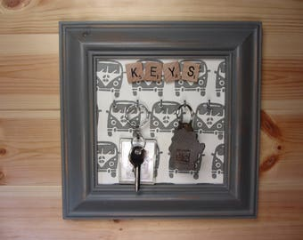 Camper printed Key Hooks, hand made 8 hooks, key holder, key Plaque, key rack available in any colour and any size