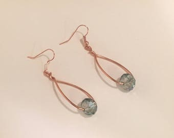 copper teardrop earrings with blue gem