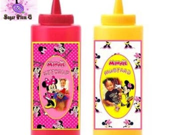 Customizable Mickey and Minnie Mouse Ketchup and Mustard Bottle Dispensers