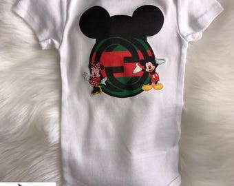 Red and Green  Mickey Mouse and Minnie Mouse Baby Onesie | Babyshower Gift | First Birthday Outfit | Designer Inspired