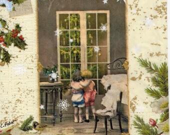 076 1 napkin nostalgia two children are waiting for Christmas