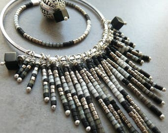 Brass color necklace old SQUAW silver black