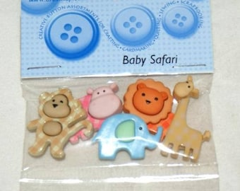 Set of 5 novelty buttons - safari animals