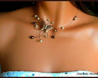 Butterfly Chloe chocolate Ivory Pearl wedding bridal necklace