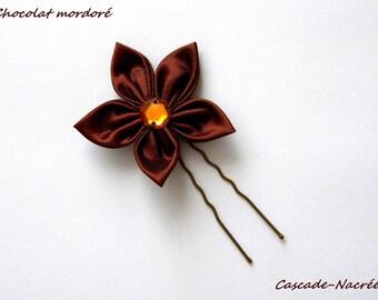 PIC à cheveux fleur chocolate bronze bridal satin silver Pearl wedding jewelry