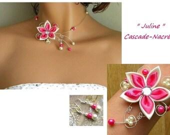Bridal flower JULINE hot Silver White Pearl bridal set