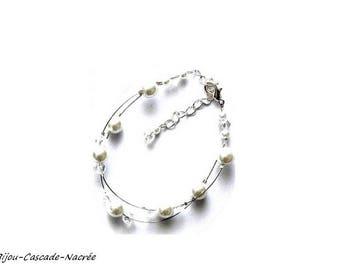 Bridal white Crystal Pearl wedding jewelry bracelet