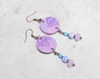 Earrings handmade by Little Valentine is candy pink