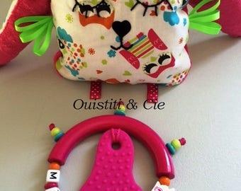 "Ring teether + custom monkey pattern OWL ""Mathilde"""