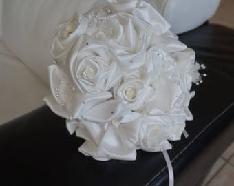 Bridal satin and rhinestone bouquet