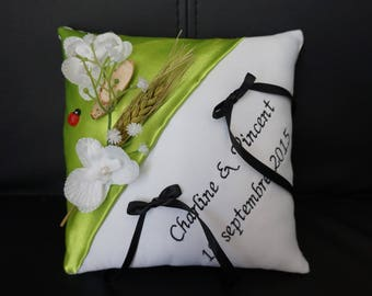 lime and black theme country cushion