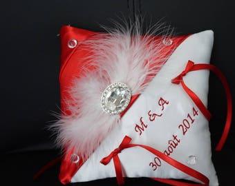 Red rhinestone diamond cushion