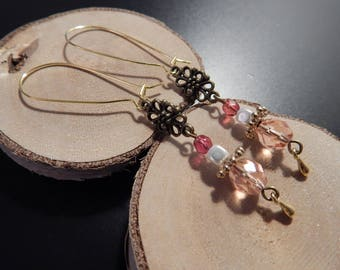 Maxi earrings clasp beads pink and Golden