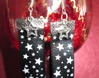 Earrings black ribbon with stars and small star