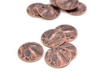 5 sequins round 15mm antique copper