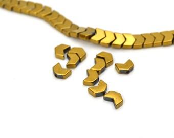 10 Golden 6x5mm Hematite Chevron beads