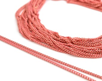 50cm of thin pink and gold metal chain 1.8 mm
