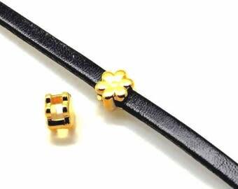 Passing Metal ZAMAK - flower - 6mm - gold - PPMCP6170R0464 flat leather