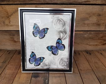 "Stunning handcrafted framed lilac/black/turquiose butterfly picture 11.5"" x 9.5"""