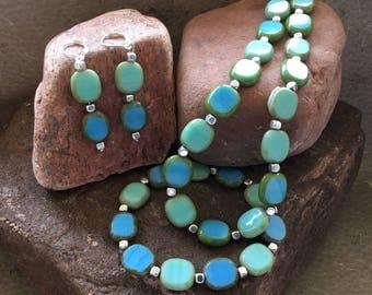 Aqua Blue and Sea Green Czech Bead Set