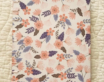 Pink and White Flowery Hardcover Notebook