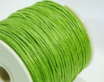 5 m of lime green 1 mm waxed cotton cord