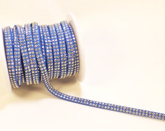 Blue Suede cord with Rhinestone dangles