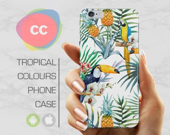Tropical Birds Phone Case / iPhone 7 Case / Samsung Galaxy S8 Case  / iPhone 7 Cover / Parrots / iPhone SE, 5, 5S, 6s Cover - PC-229