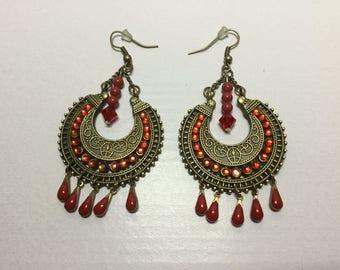 Dangle earrings ethnic style Swarovski Crystal beads