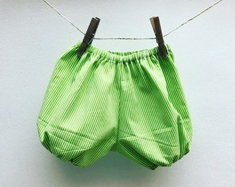 Lime green and white striped baby bloomers