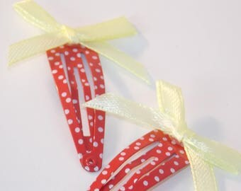 Red and Yellow Dotty Bow Clips