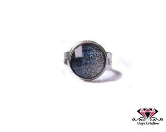 Blue cabochon Adjustable ring glitter gradient