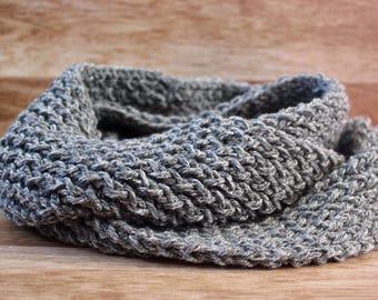 Grey Knit Infinity Scarf Cowl, knit scarf, chunky scarf, loom scarf, loom cowl, infinity scarf, infinity cowl, knit cowl, knitted scarf