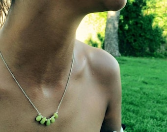 Necklace chain Silver 925 sheet olive jade