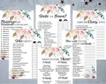 Boho Floral Bridal Shower Games, 6 Printable Bachelorette Games, Boho Floral Bridal Shower Games, Hens Night Game, Party Games