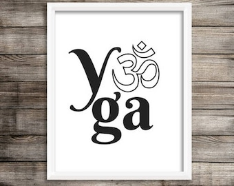 Yoga Print B&W // yoga art, yoga artwork, art print, yoga decor, gift for her, yogi gift, meditation art, minimalist art, yoga studio decor