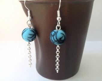 """Dangle earrings """"mottled"""" - black spotted blue"""