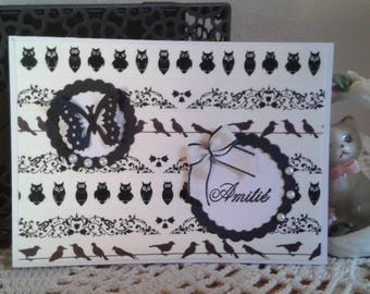 Lot 2 cards black and white positive negative friendship