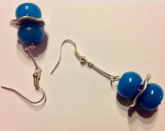Blue beads Cascade earrings
