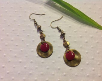 Bronze plum sequin earrings