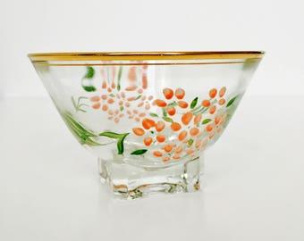 Vintage Floral Glass Dessert Bowls x 6
