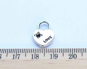 6 Heart Lock Charms