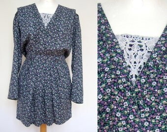vintage floral dress 90s mini short blümchenkleid lace front