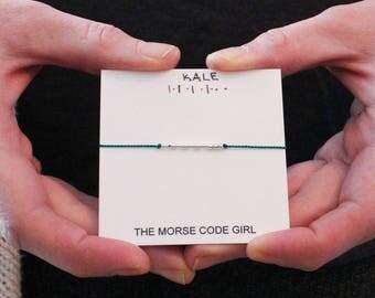 KALE |.|.| .|.. . Morse Code Bracelet - Sterling Silver Secret Message Bracelet - Inspiration to Eat Healthy
